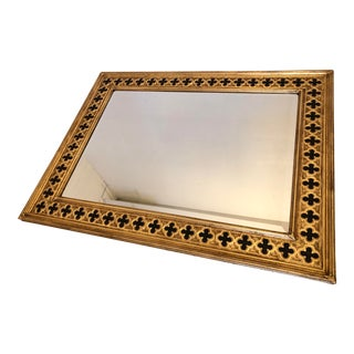 Friedman Brothers Gold and Black Framed Beveled Mirror For Sale