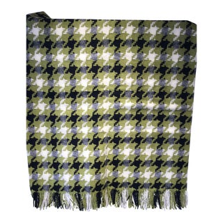 Merino Wool Throw Lime Houndstooth Made in England For Sale
