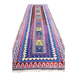 Purple and Navy Detailed Turkish Kilim Runner Hallway Rug -2'10'x8'11' For Sale