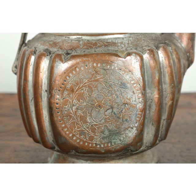 Antique 19th Century Middle Eastern Persian Tinned Copper Ewer For Sale In Los Angeles - Image 6 of 9