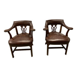 Leather Chairs - a Pair For Sale