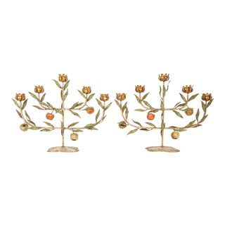 Vintage Italian Tole Espaliered Apple Tree Candelabras - a Pair For Sale