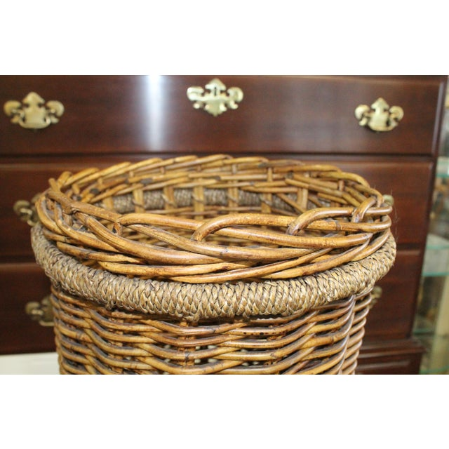 20th Century Country Tall Wicker Basket For Sale - Image 4 of 6