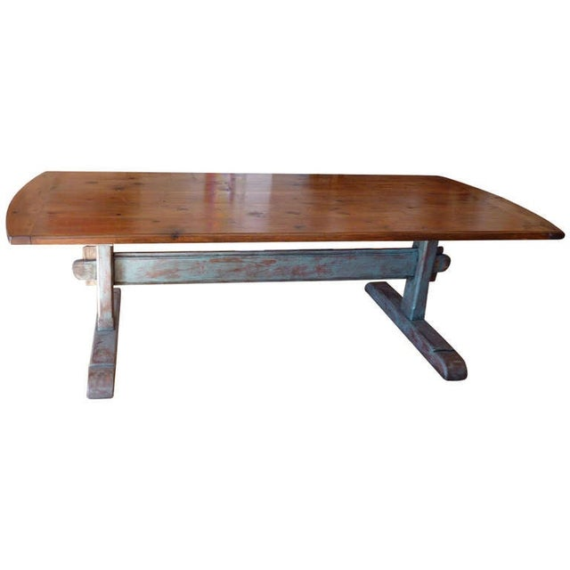 Blue 19th Century Scandinavian Trestle Table For Sale - Image 8 of 8