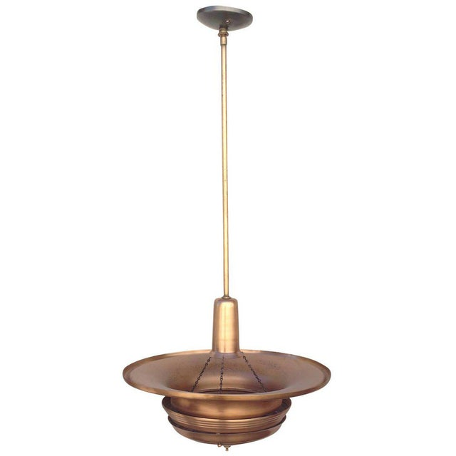 1930s Copper Art Deco Ceiling Hanging Pendant For Sale - Image 5 of 8