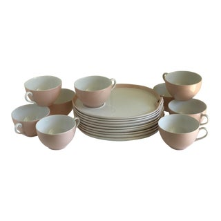 Vintage Noritake Pink & White Tea Cups and Trays - Set of 18