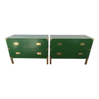1980s Campaign Henredon Lacquered Chests - a Pair For Sale