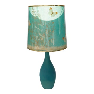 Mid 20th Century Blue Lamp with Shade by Van Briggle For Sale