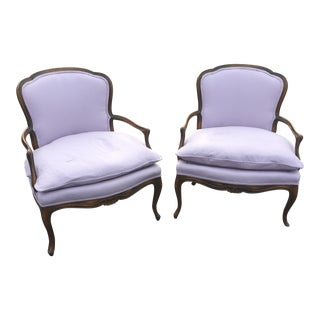 Vintage French Louis XVI Fauteuil Bergere Chairs - A Pair For Sale