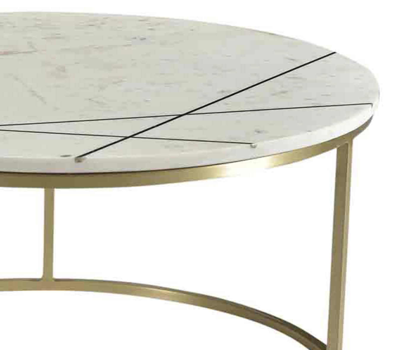 Modern Round Coffee Table With White Marble Top And Antiqued Brass Finish  Iron Inset Detail And