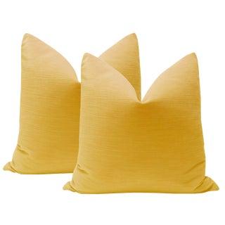 """22"""" Goldenrod Strie Velvet Pillows - A Pair"""