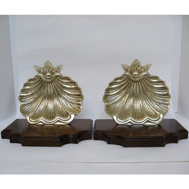 Brass & Wood Shell Shaped Wall Brackets - A Pair - Image 6 of 7