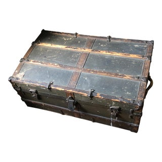 Antique Metal and Wooden Steamer Trunk For Sale