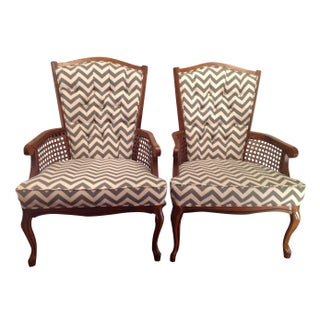Chevron Tufted Back Chairs - A Pair