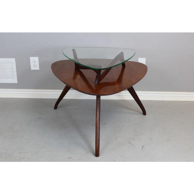 Brown Vladimir Kagan-Style Two-Tier Side Table For Sale - Image 8 of 9