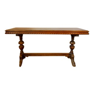 Early 20th Century Renaissance Revival Walnut Library Table For Sale