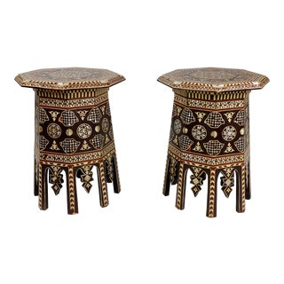 Syrian Vintage Octagonal Side Tables Mother of Pearl Inlaid- a Pair For Sale