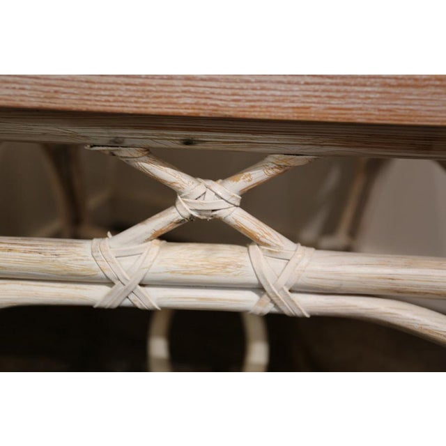 White-Wash Finish Rattan Occasional Table For Sale In Dallas - Image 6 of 11