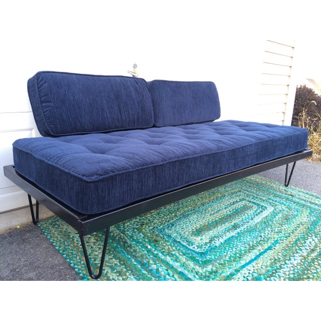 Restored Mid-Century Daybed in Indigo For Sale In Philadelphia - Image 6 of 10