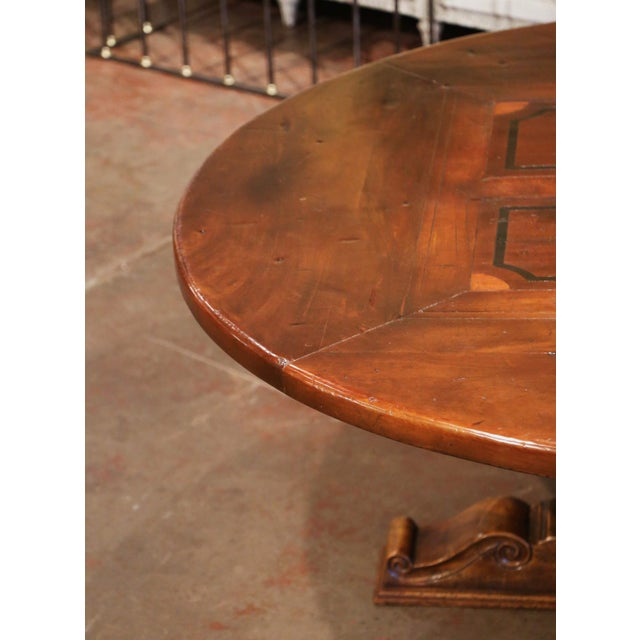 Mid-Century French Carved Walnut Pedestal Round Dining Table With Parquetry Top For Sale - Image 4 of 13