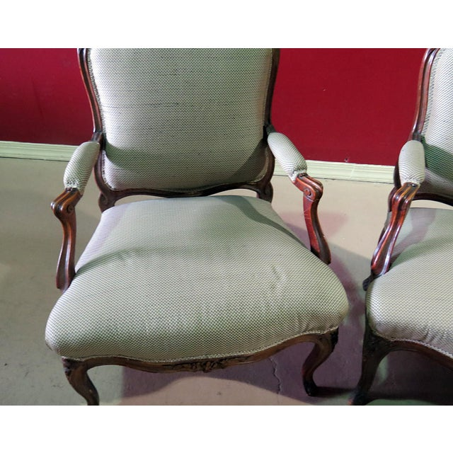 French Louis XV Style Fauteuil Chairs - a Pair For Sale - Image 3 of 8