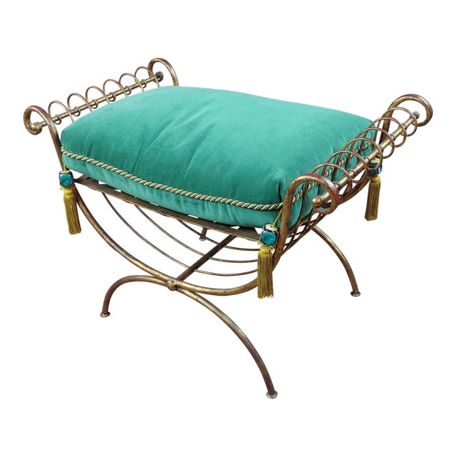 Beautiful Gilt Metal French Lady's Bench W/Velvet Pillow -C1920s For Sale