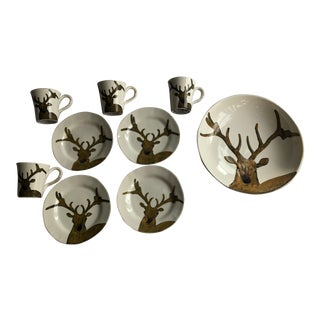 Au Bain Marie Paris Majolica Deer Plates Mugs & Bowl - Set of 9
