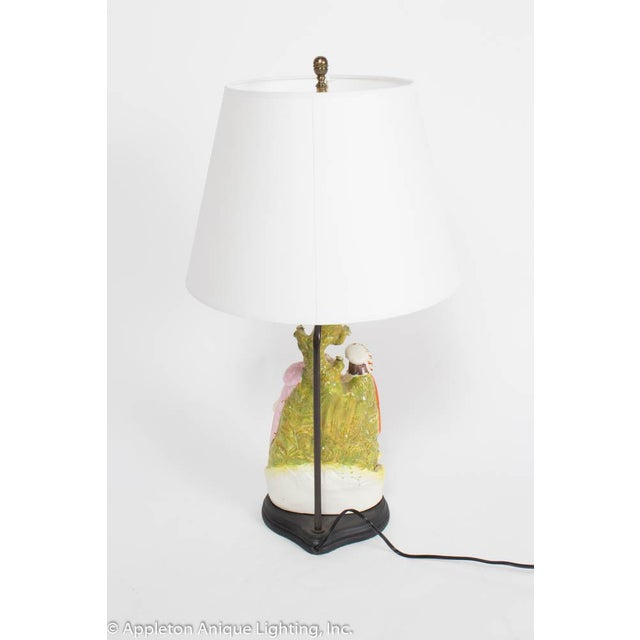 Staffordshire Restored Staffordshire Rebekah and Abraham's Servants Table Lamp For Sale - Image 4 of 7