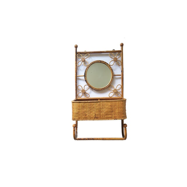Boho Chic Vintage Natural Rattan Bamboo Round Mirror Wall Shelf Storage Caddy Hook For Sale - Image 3 of 3