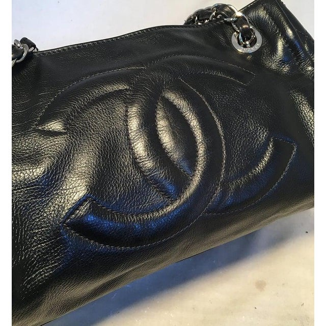Black Chanel Black Leather Mini Duffle Shoulder Bag For Sale - Image 8 of 12
