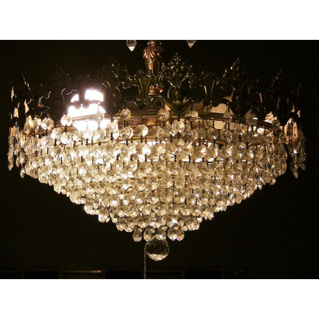 Crystal 19c French Crystal Ormolu Chandelier For Sale - Image 7 of 8