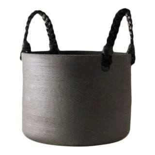 Contemporary Handmade Ceramic Dylan Basket Medium - Raw Noir For Sale