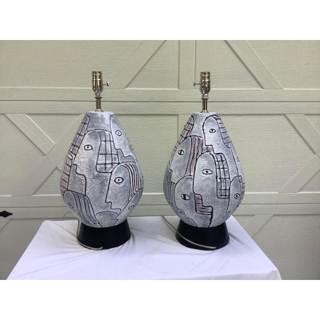 Bitossi Midcentury Modern Large Scale Lamps, a Pair For Sale In Atlanta - Image 6 of 11