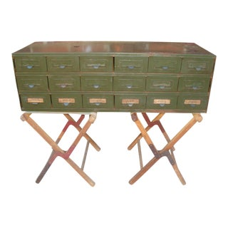 Midcentury Modern Industrial Steel Office Card Catalog Cabinet