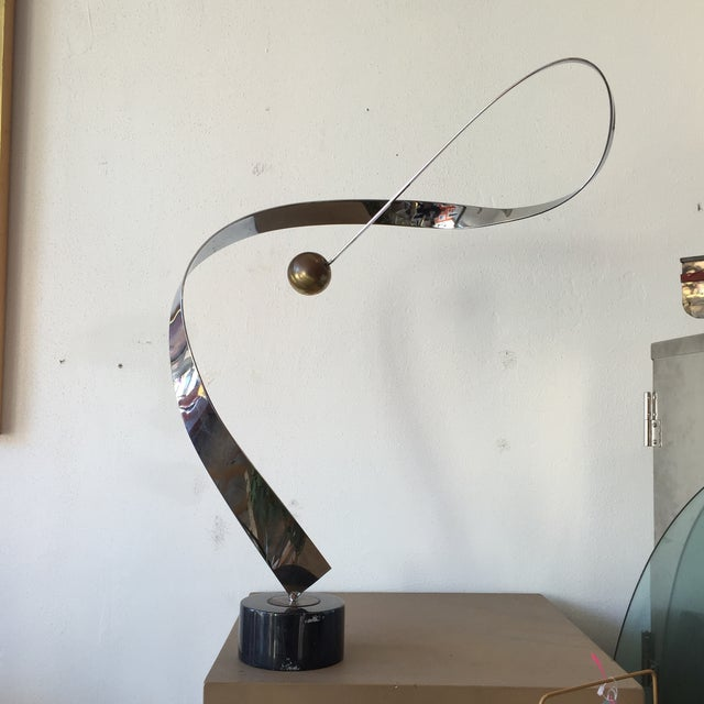 Minimalist Modern Metal Sculpture on Marble Base - Image 6 of 10