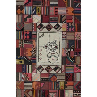 Vintage Mid-Century Persian Patchwork Rug - 5′7″ × 8′5″ For Sale