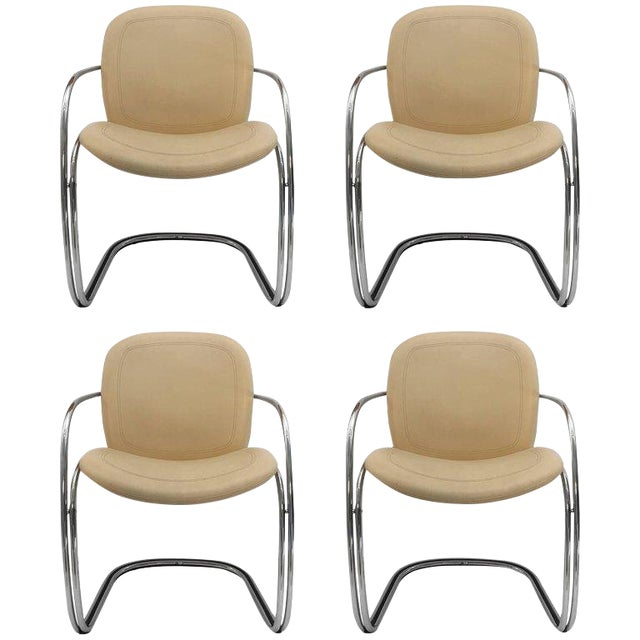 1970s Italian Chrome and Leather Chairs by Gastone Rinaldi for Rima- Set of 4 For Sale