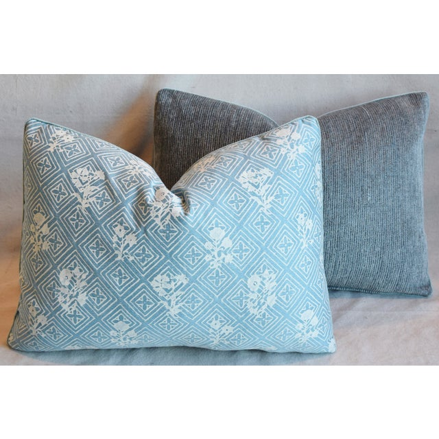 """Blue & White Italian Mariano Fortuny Feather/Down Pillows 22"""" X 16"""" - Pair For Sale - Image 11 of 13"""
