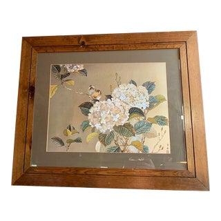 English Metal Etching Hydrangea & Bird Art, Vintage Wall Hanging For Sale
