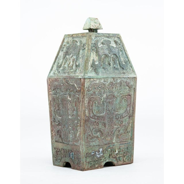 Lawrence and Scott, Inc Lawrence & Scott Verdigris Bronze Wine Vessel For Sale - Image 4 of 9