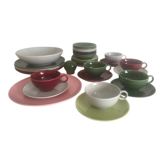 Mid Century Modern Universal Ballerina Multicolor Dinnerware - Set of 32 For Sale