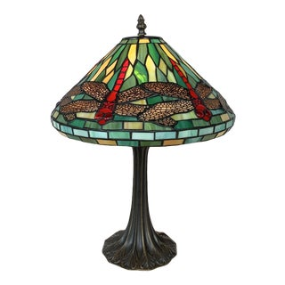 Vintage Tiffany Style Stained Glass Dragonfly Lamp For Sale