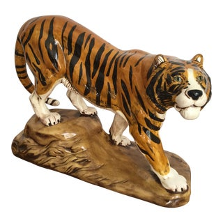 Vintage Mid Century Tiger Ceramic Figurine For Sale