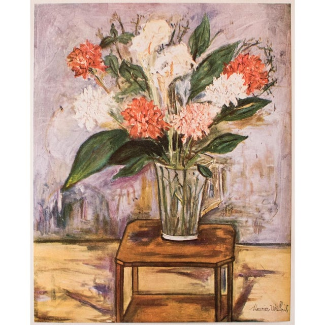 "A lovely vintage original period tipped-in paper lithograph ""Flower Still Life"" by Maurice Utrillo (1946). Signed in the..."