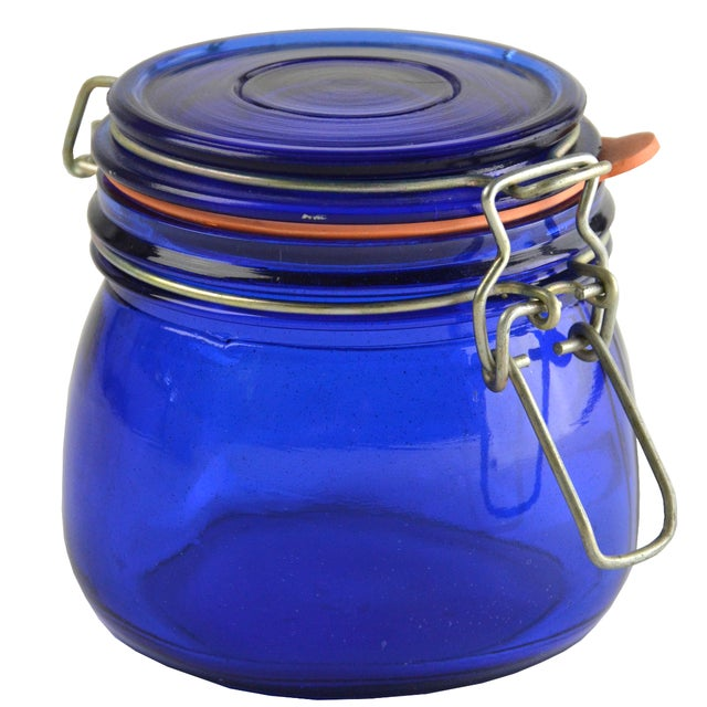 Cobalt Blue Glass Canister - Image 1 of 3