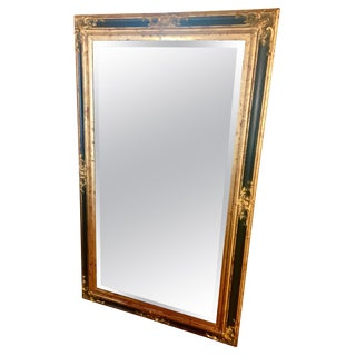 Monumental Large Full Length Neoclassical Beveled Floor Mirror Black and Gold For Sale