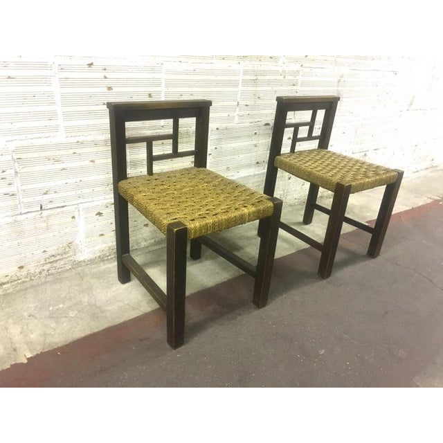 Art Deco Francis Jourdain Modernist Bauhaus Style Pair of Oak and Rope Chairs For Sale - Image 3 of 5