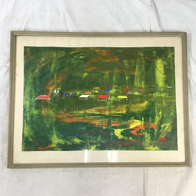 Green Late 20th Century Abstract Landscape Painting, Framed For Sale - Image 8 of 8