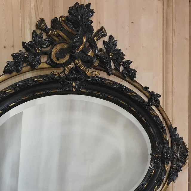 Antique French 19th Century Louis XVI Oval Mirror For Sale - Image 4 of 11