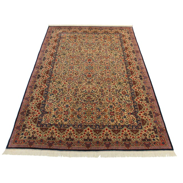 Offered is a fine hand knotted wool Chinese Persian Kerman design rug. Fine weave. Beautiful multi color all over designs.